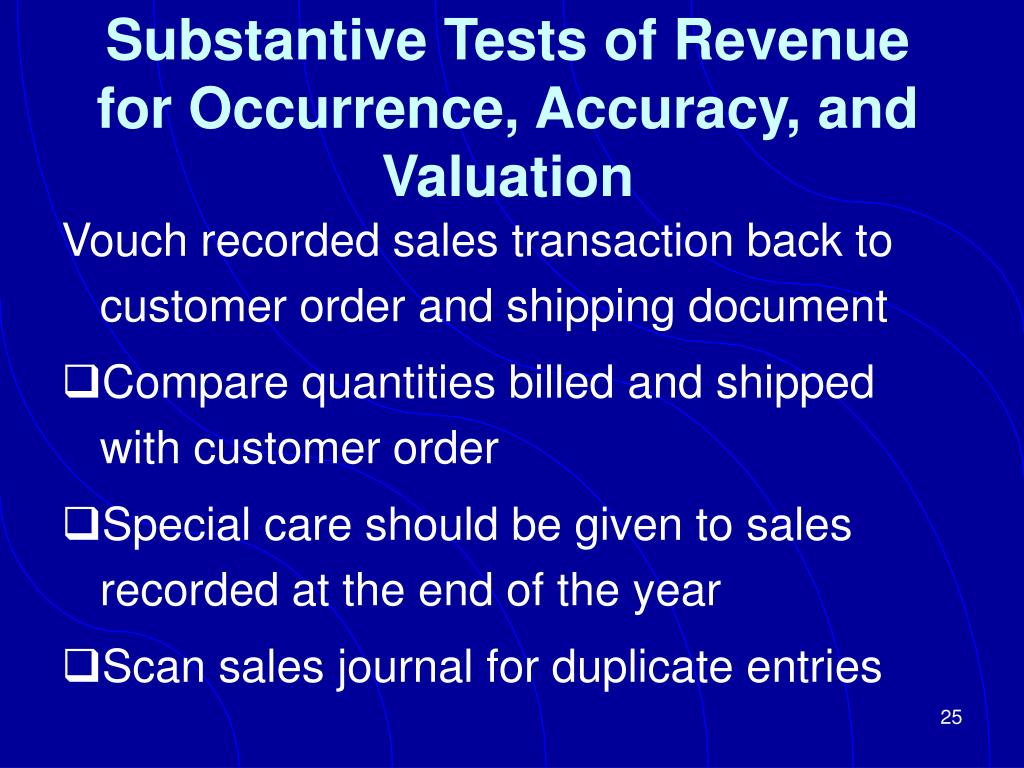 Substantive Tests of Revenue