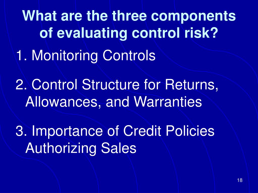 What are the three components of evaluating control risk?
