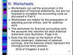 iii worksheets