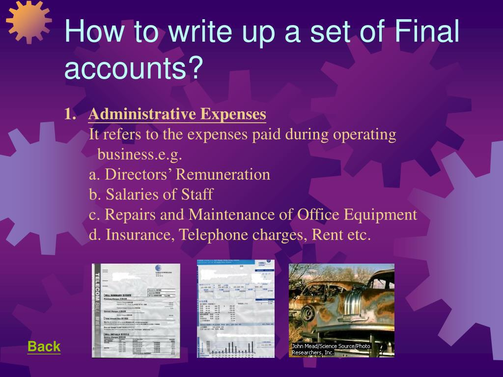 How to write up a set of Final accounts?