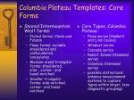 columbia plateau templates core forms