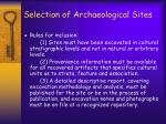 selection of archaeological sites