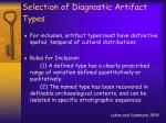 selection of diagnostic artifact types