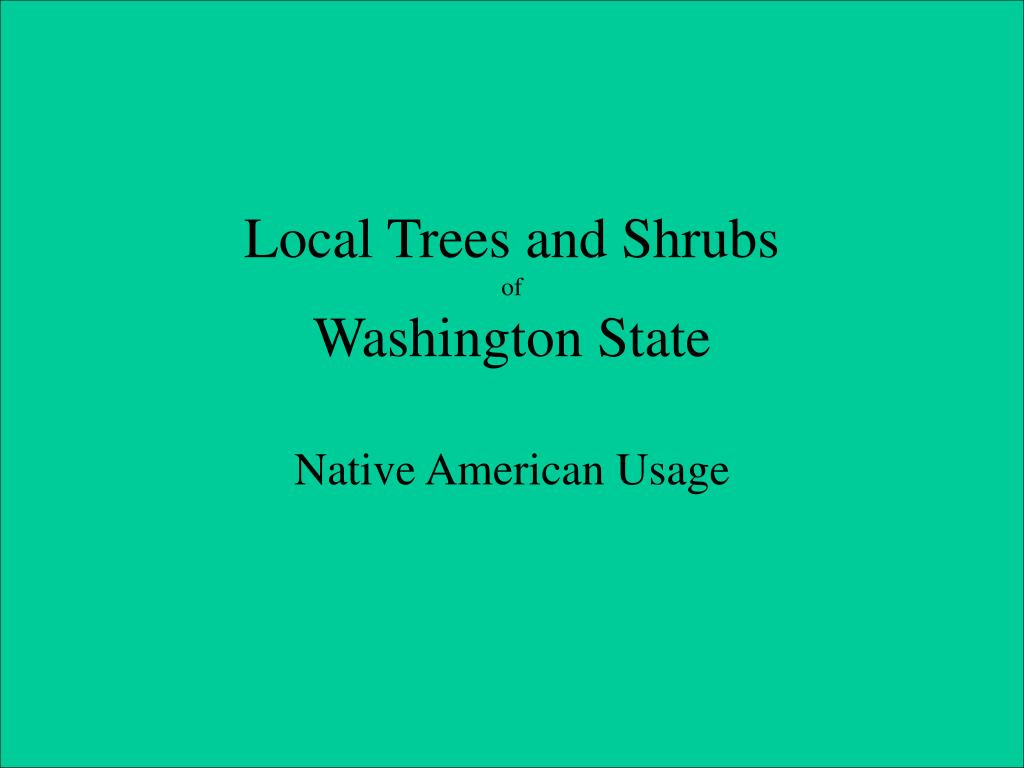 local trees and shrubs of washington state l.