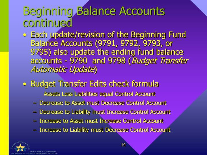 Beginning Balance Accounts continued