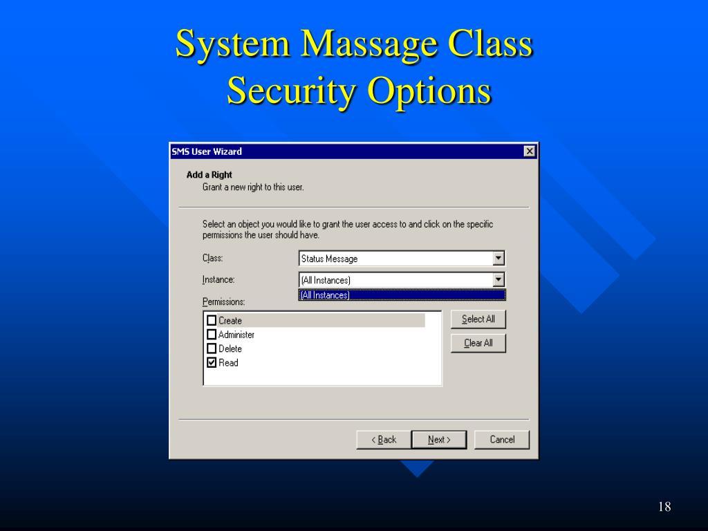 System Massage Class