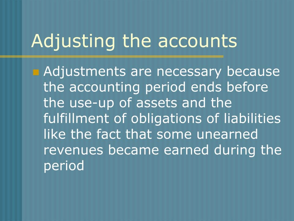 Adjusting the accounts