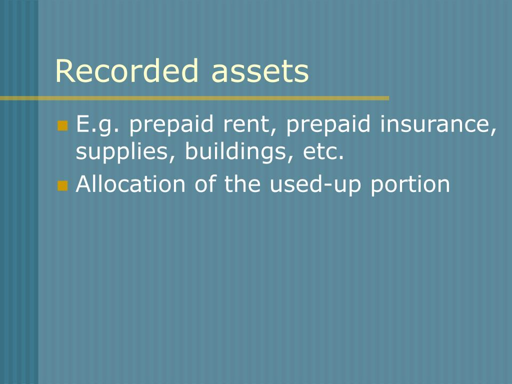 Recorded assets
