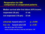 reoperation for gm comparison to unoperated patients