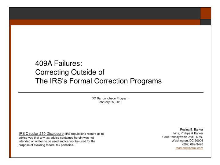 409a failures correcting outside of the irs s formal correction programs n.