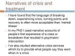 narratives of crisis and treatment