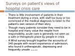 surveys on patient s views of hospital crisis care