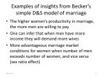 examples of insights from becker s simple d s model of marriage