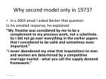 why second model only in 1973