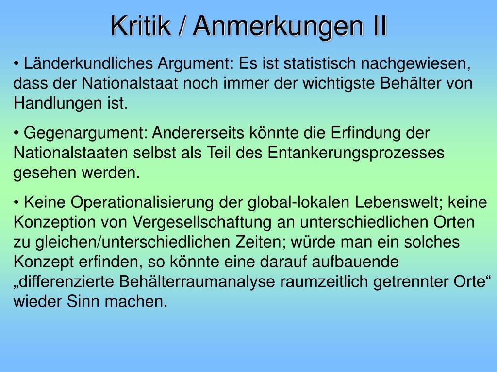 Kritik / Anmerkungen II