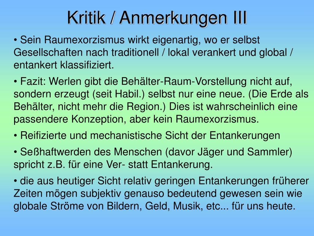 Kritik / Anmerkungen III