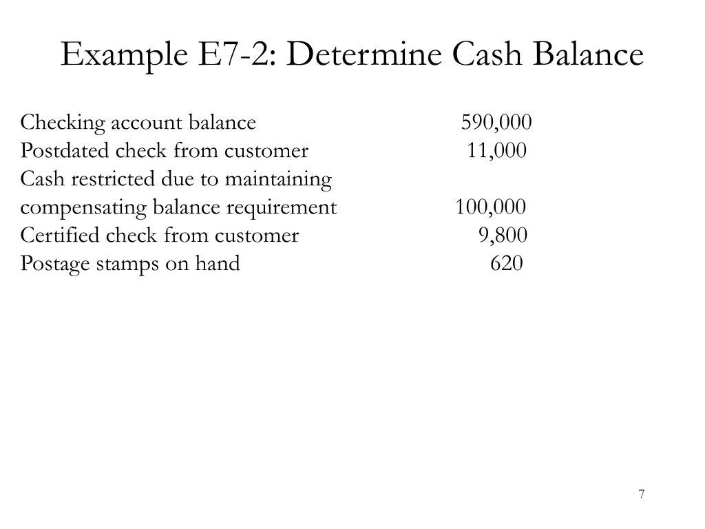 Example E7-2: Determine Cash Balance