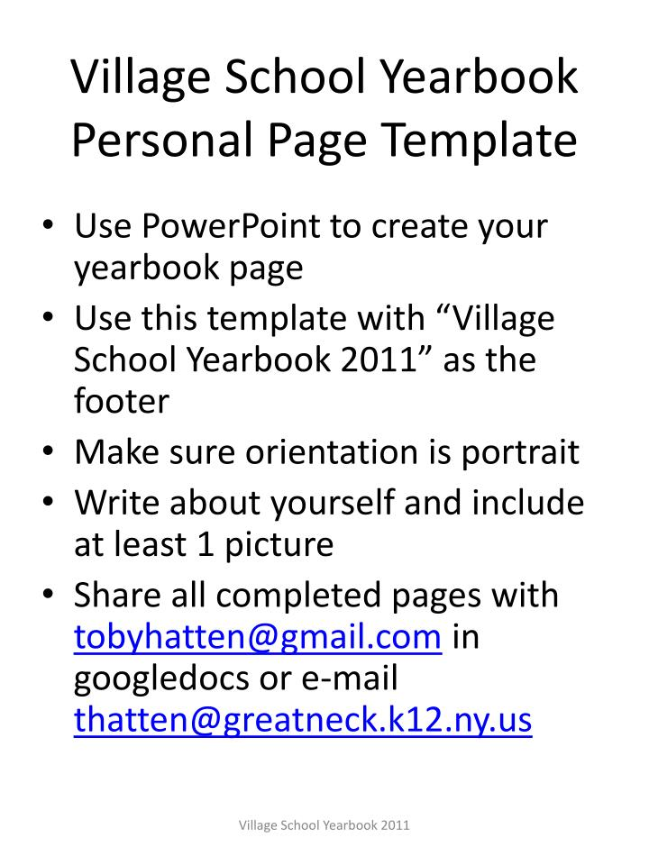 Ppt Village School Yearbook Personal Page Template Powerpoint