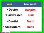 word taboo word s
