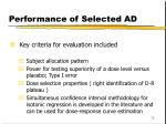 performance of selected ad