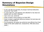summary of bayesian design simulations