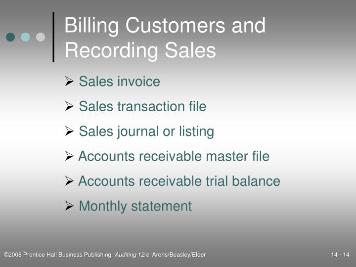 Billing Customers and Recording Sales