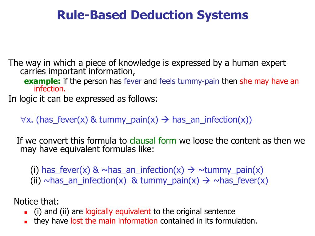 rule based deduction systems l.
