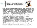 donald s birthday