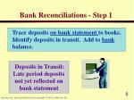 bank reconciliations step 1
