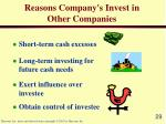 reasons company s invest in other companies