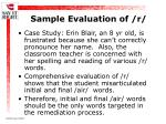 sample evaluation of r