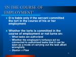 in the course of employment