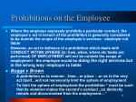 prohibitions on the employee