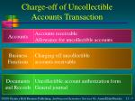 charge off of uncollectible accounts transaction