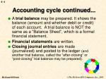accounting cycle continued