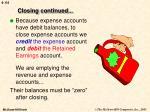 closing continued