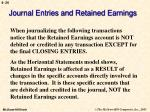 journal entries and retained earnings