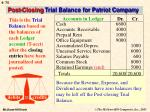 post closing trial balance for patriot company