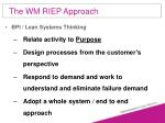 the wm riep approach58