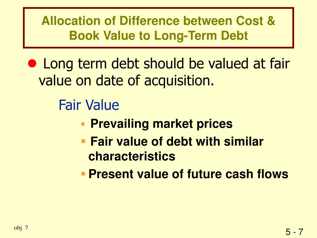 Allocation of Difference between Cost & Book Value to Long-Term Debt
