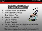 acceptable receipts for all types of reimbursements
