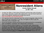 nonresident aliens contact debbie honrath at 895 1243