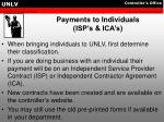 payments to individuals isp s ica s
