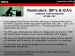 reminders isp s ica s contact yvette walton at 895 1143