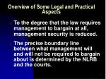 overview of some legal and practical aspects