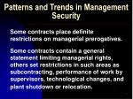 patterns and trends in management security