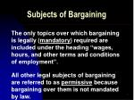 subjects of bargaining
