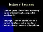 subjects of bargaining11