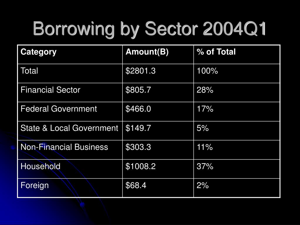 Borrowing by Sector 2004Q1