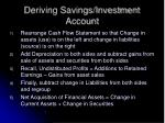 deriving savings investment account44